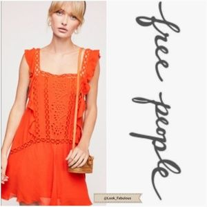 NWT FREE PEOPLE TANGERINE CROCHET DRESS